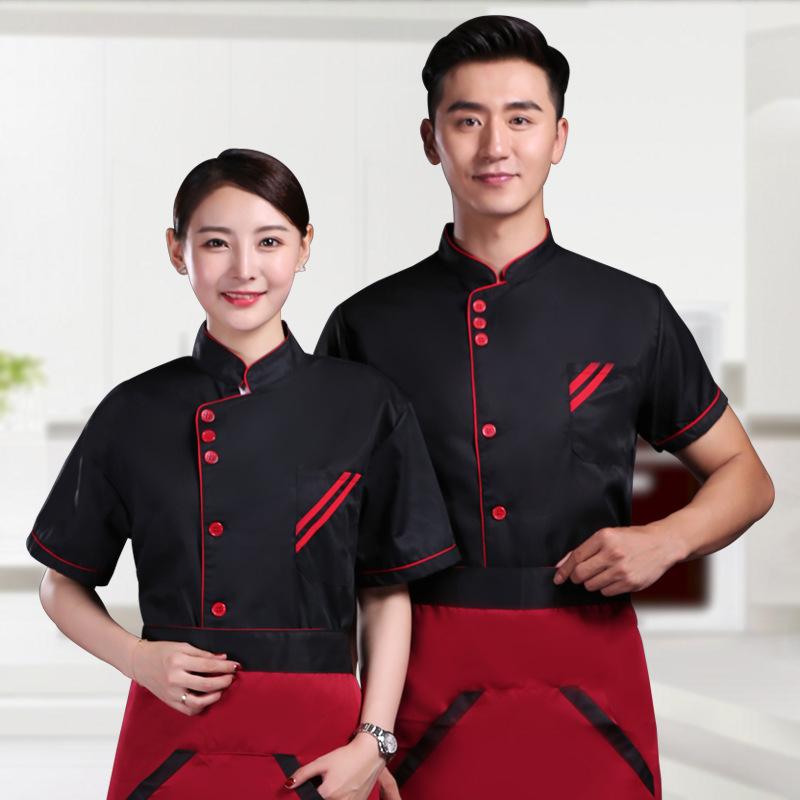 短袖厨师长服装三连扣208-L005