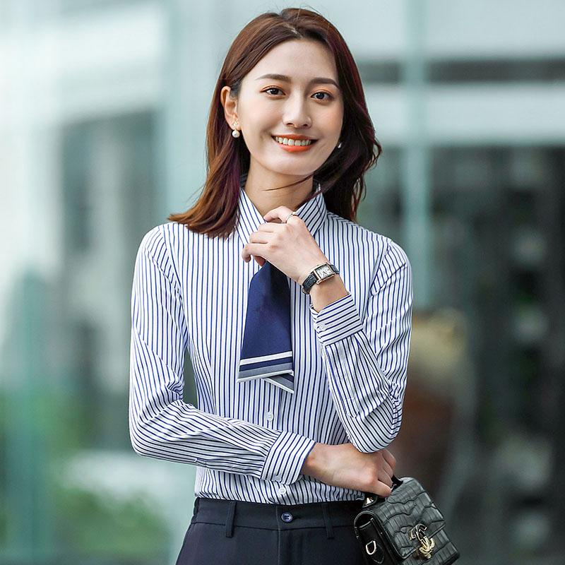 优雅通勤条纹长袖衬衫女QZ-9315