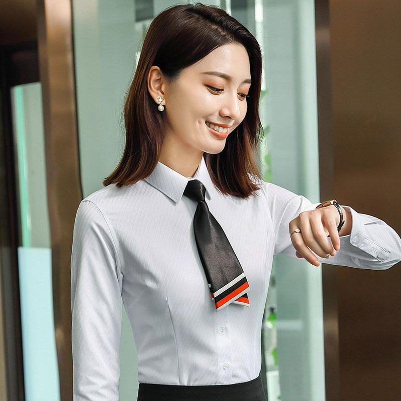 通勤大粗斜长袖衬衫女QZ-6316