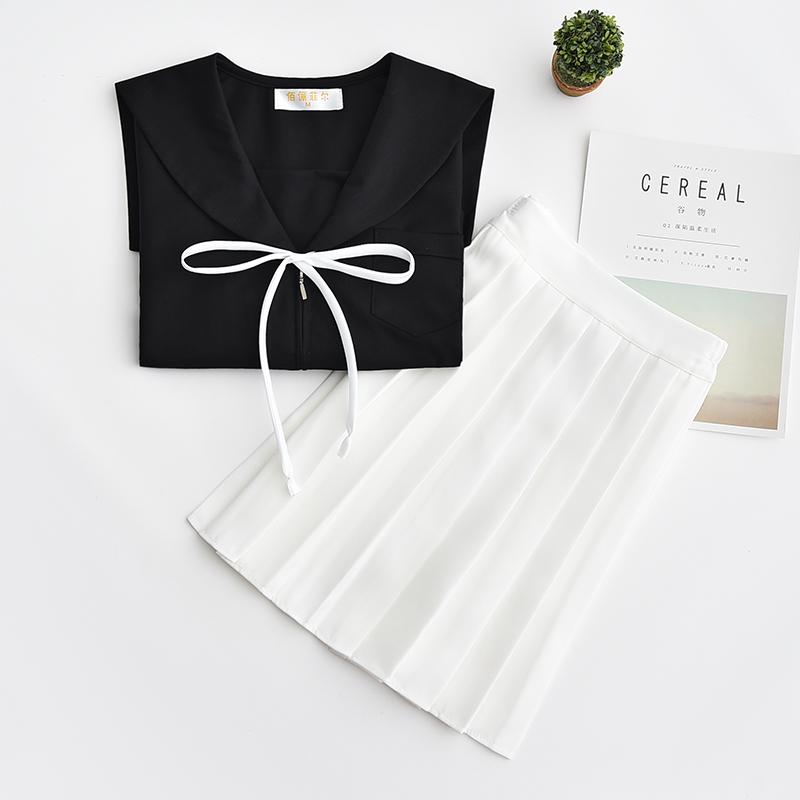 日系水手服学院风校服黑无本 白裙150-M006