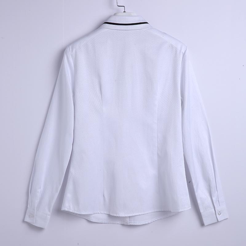 涤棉混纺翻领长袖衬衫女款HN-986