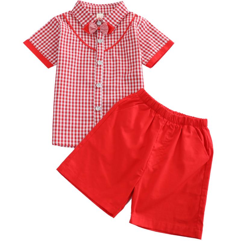 短袖翻领中小学生校服套装夏季儿童红蓝格子套装209-1908