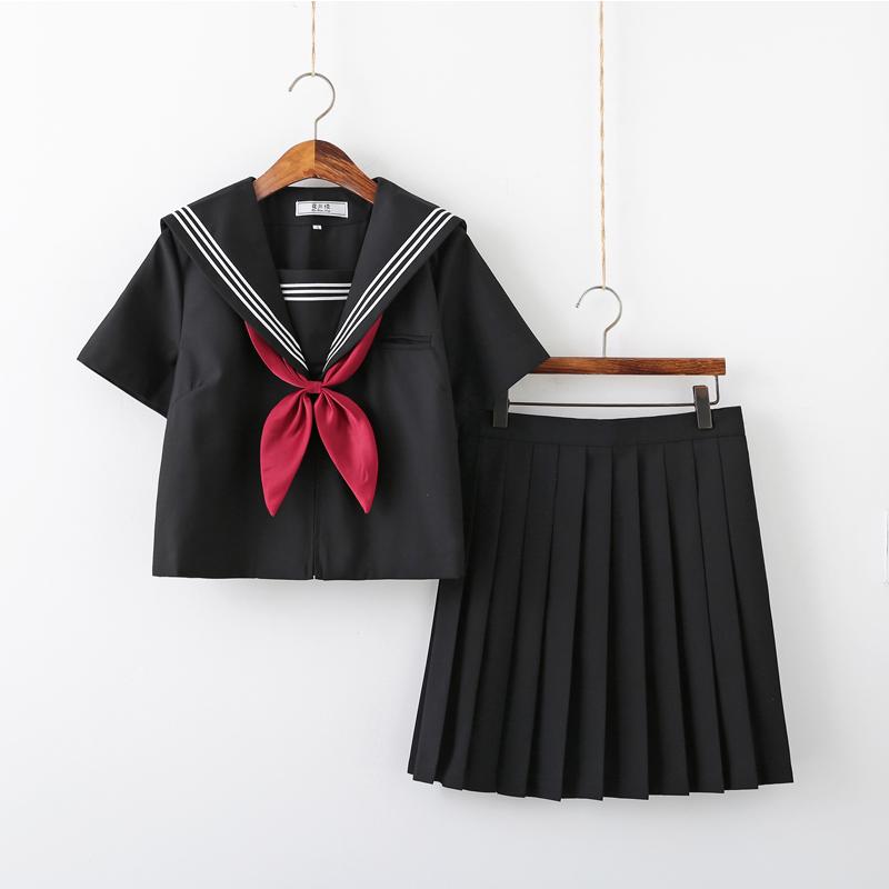 正统JK制服水手服套装全黑白三本150-M023
