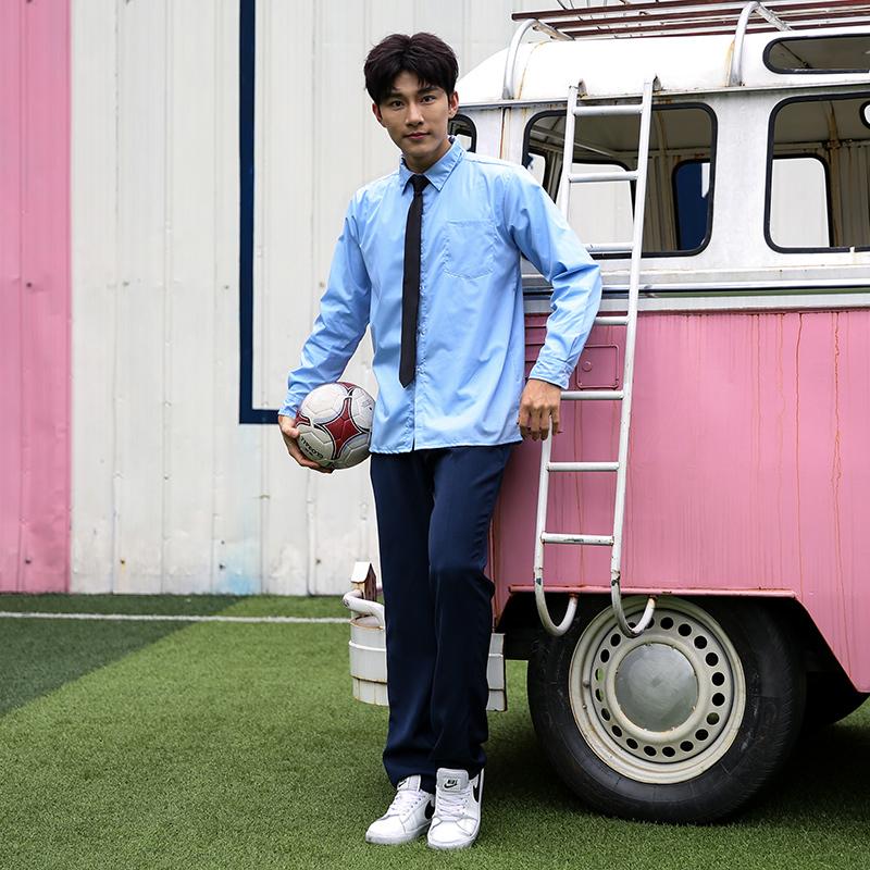 男生英伦学院风套装校服班服制服蓝色(长袖 裤子)套装150-C0304022