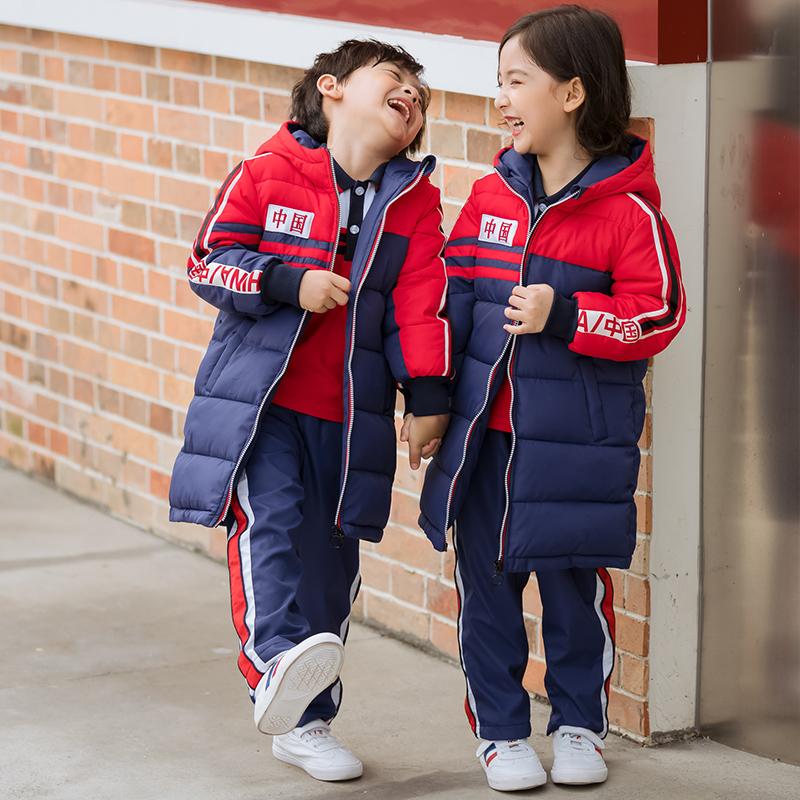 长款棉衣中小学生外套儿童班服保暖运动外套168-722