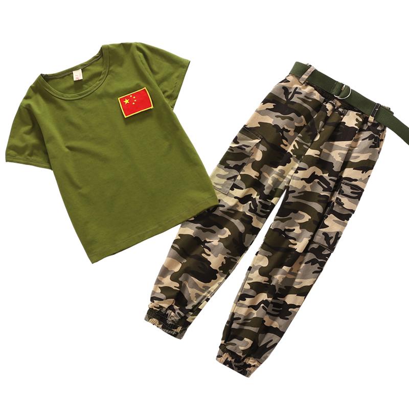 夏季短袖军绿儿童校服套装国旗图案两件套套装209-1922