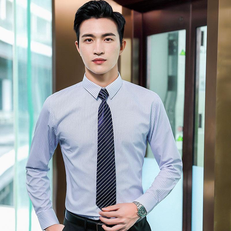 商务职业细条纹长袖衬衫男QZ-9306
