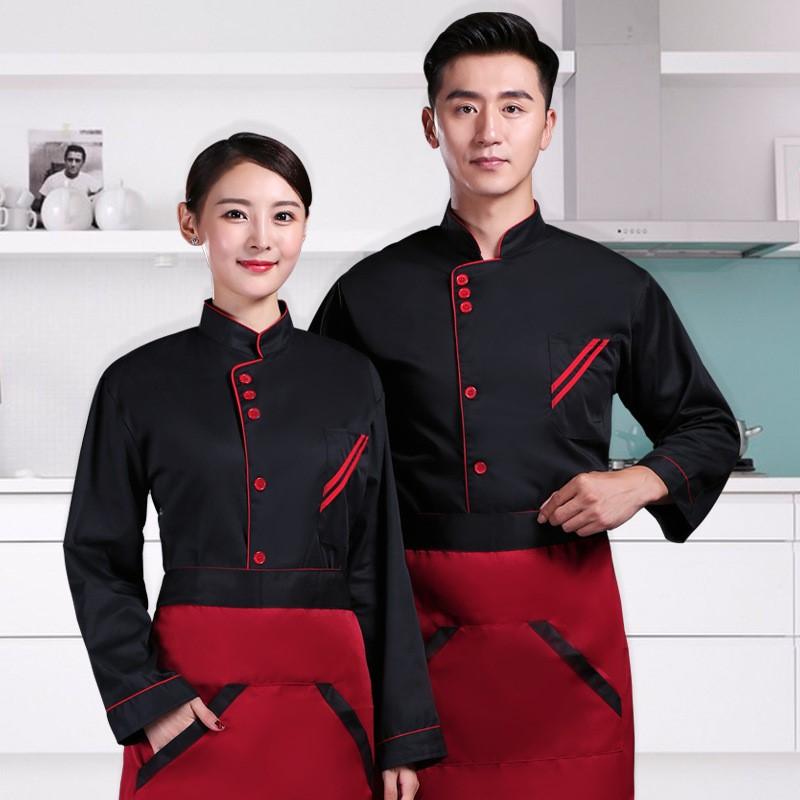 长袖厨师长服装三连扣208-L004