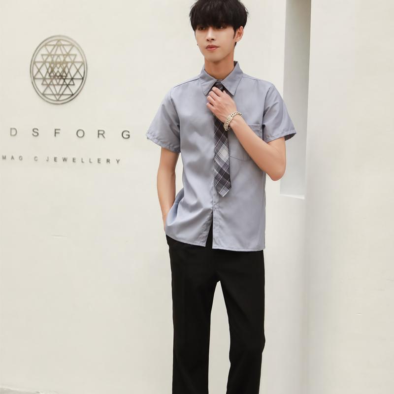男生英伦学院风套装校服班服制服(衬衫 裤子 领带)套装150-C0304059