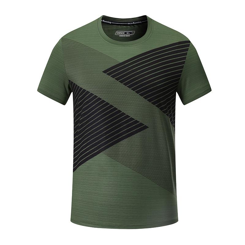 170g涤纶线条布圆领短袖休闲运动T恤男款32-A35