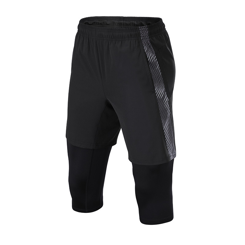 160g梭织面料假两件运动训练短裤男款32-Y10
