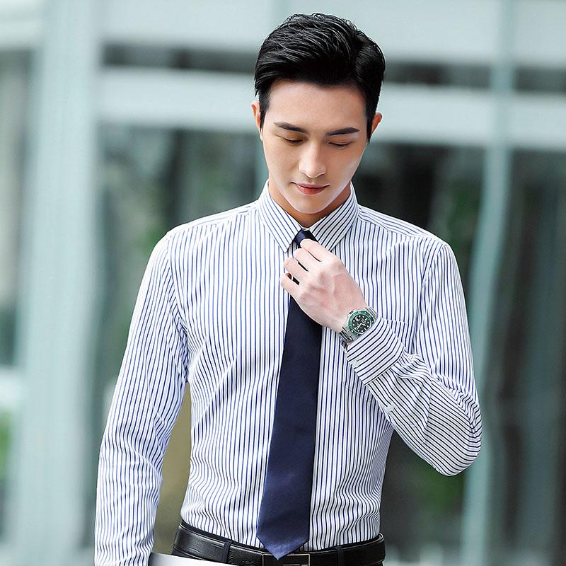 修身显瘦条纹长袖衬衫男QZ-9305