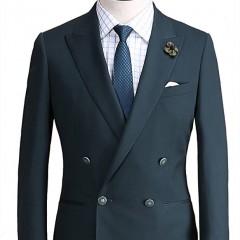 上海定制西服套装 素色戗驳头双排四粒扣西服  私人量体定制